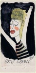 The Loves of Raymond Johnson, Card 2, 1943 black ink and watercolor on paper 5 x 2.5 inches. Collection of  Arthur Secunda