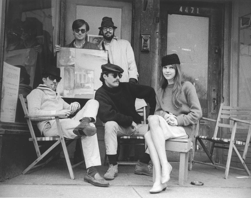 George Tysh, Robin Eichele and Martina Algire in front of the Red Door Gallery, 1964